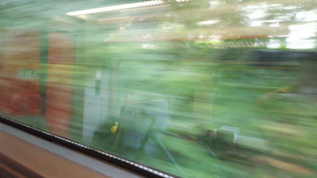View from window of speeding train