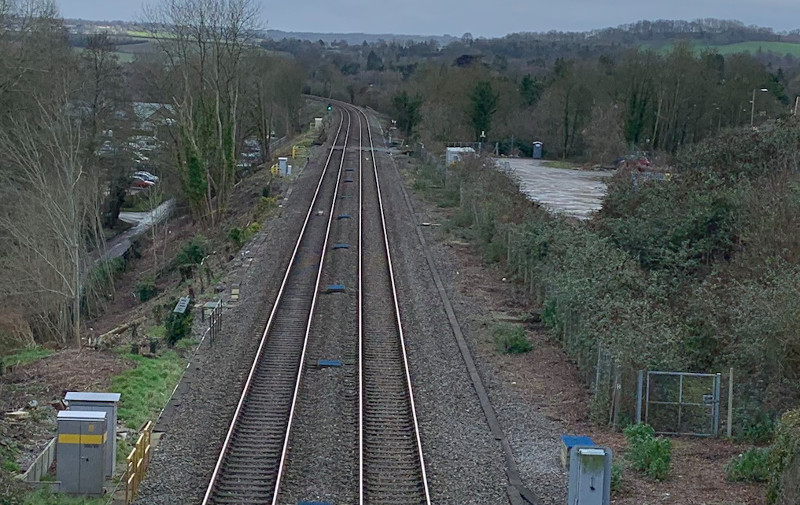 Saltford station site, from the bridge over the cutting, looking towards Bath