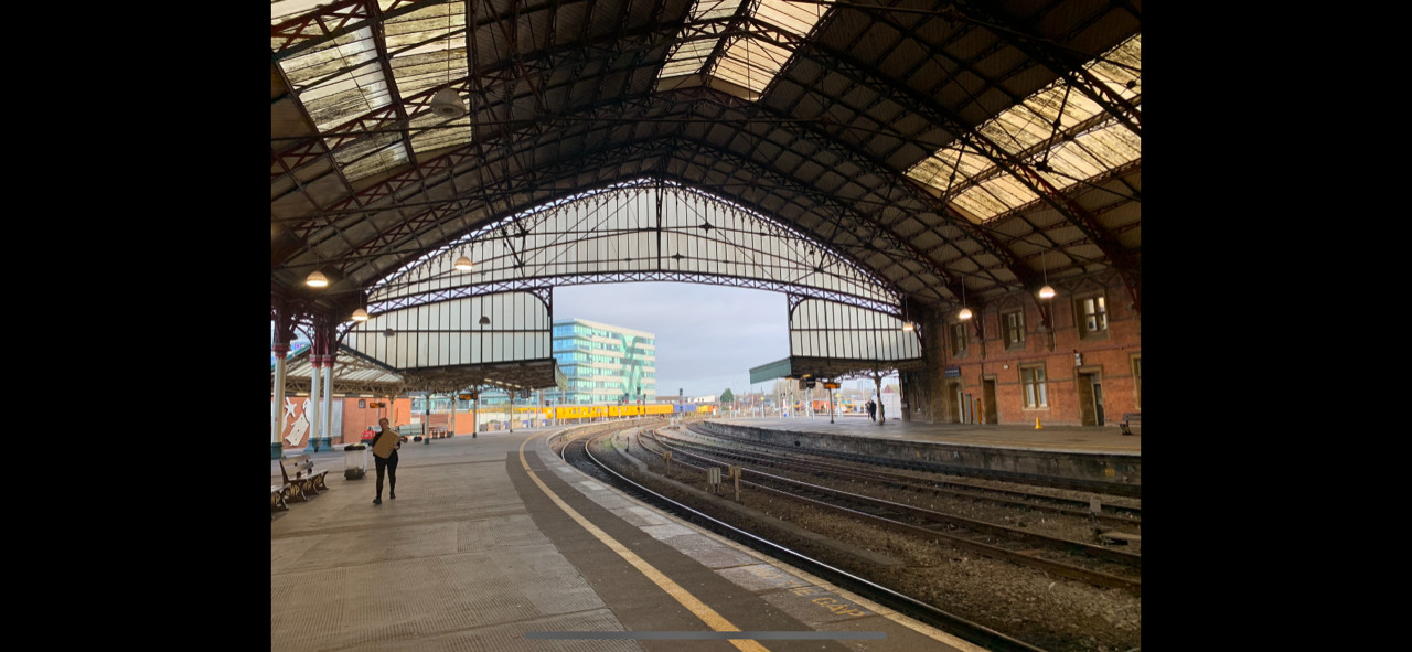Roof of main train shed, Bristol Temple Meads, 2020