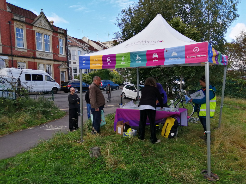 bristol city council's transport engagement gazebo at ashley down station