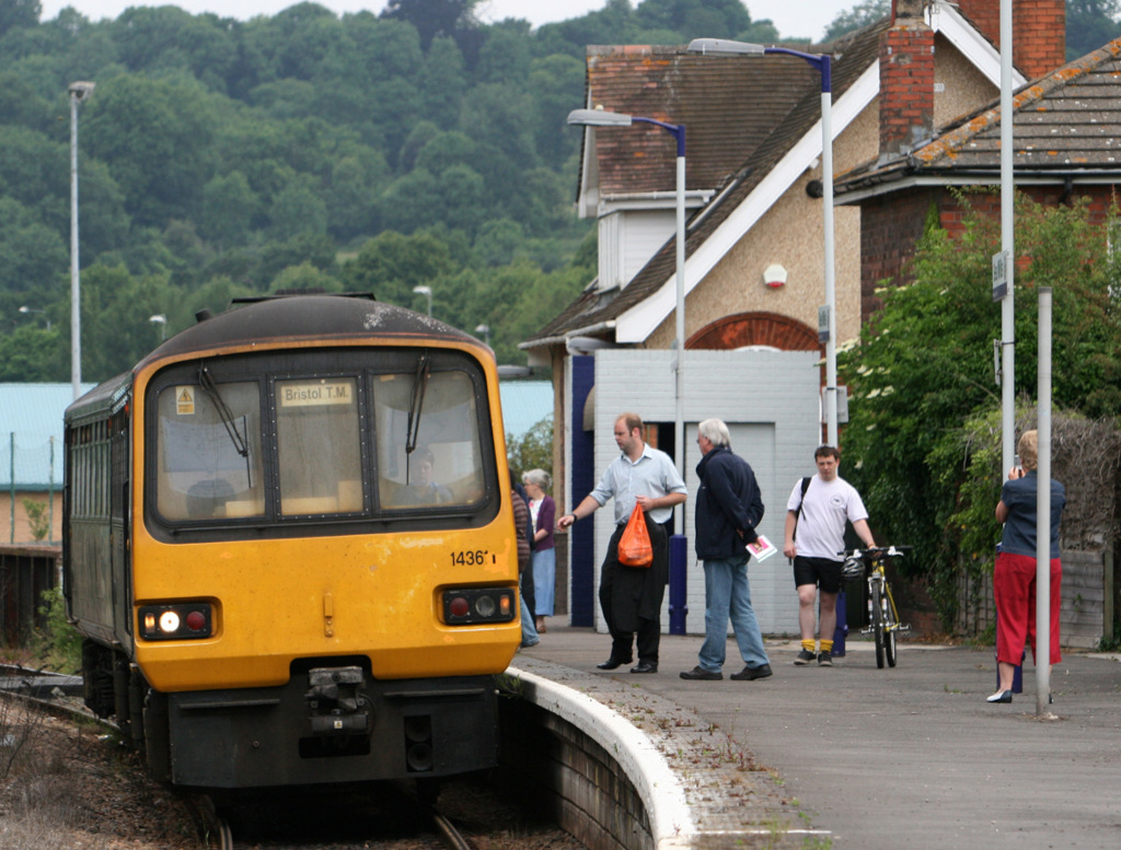 A First Great Western Class 143 Pacer DMU calls at Sea Mills with a train for Bristol Temple Meads in 2008