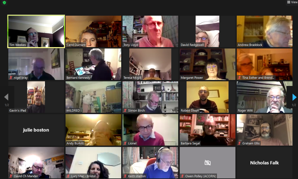 Attendees at the FoSBR AGM 2021, held via Zoom