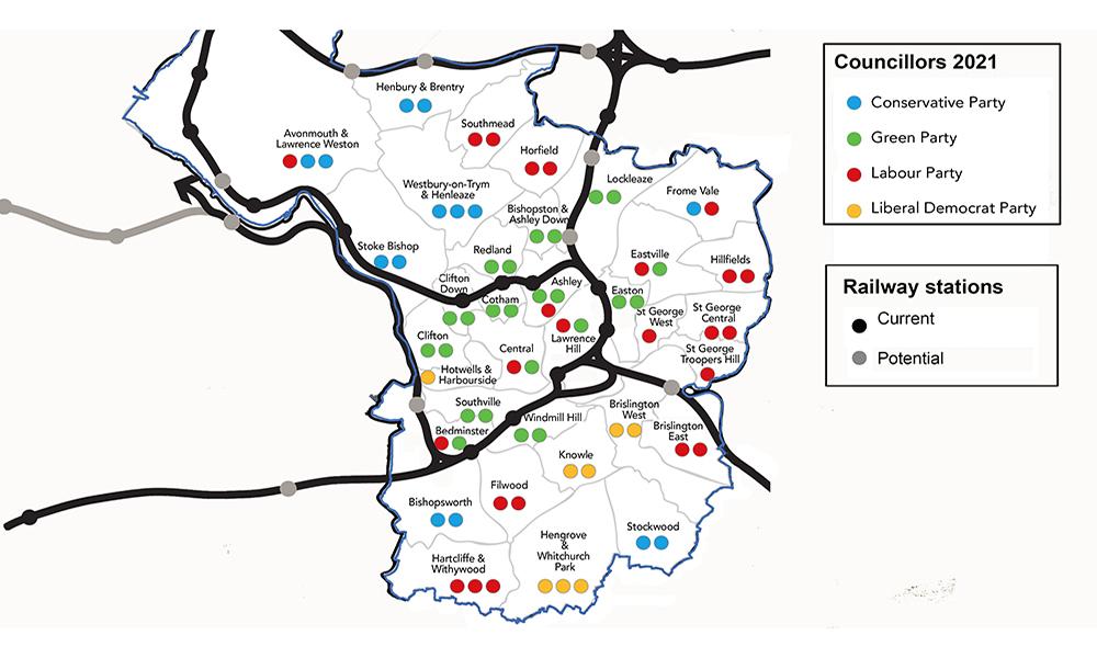 Bristol City Council - Election Results 2021 overlaid with local rail lines - original image (c) Bristol City Council